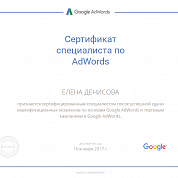 Елена Денисова. Сертификат Google Adwords