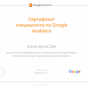 Елена Денисова. Сертификат Google Analytics
