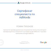 Роман Тихонов. Сертификат Google Adwords